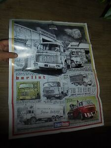 Superbe Poster Ancien Camion Berliet Cabine Relaxe GAK TR et GR France Route