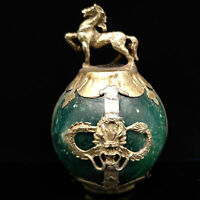 Collectable Hand-carve Red Jade Armor Tibetan Silver Zodiac statue snake y018