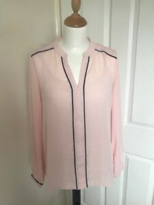 Baby Pink Blouse with Black Trim Detail 8