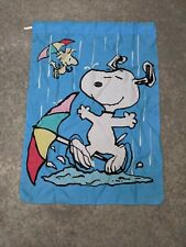 """Peanuts Snoopy & Woodstock Spring Showers Large Decorative Flag 28"""" x 40"""""""