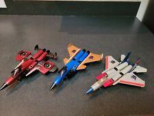 G1 Transformers lot Starscream, Thrust,  Dirge, Mirage, Tracks, Huffer, Cosmos