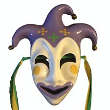 🎭 Ceramic Mardi Gras Mask, New Orleans, Purple, Green, Gold