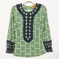 TORY BURCH Women's Size 8 Tunic Blouse Green Navy Dorelia Geometric Print