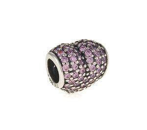 Genuine Pandora Silver Charm Pink Pave Heart Cubic Zirconia 791052PCZ
