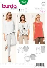 BURDA SEWING PATTERN LADIES Three pull-on blouses no closures SIZES 10 - 20 6762