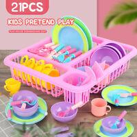 21PCS Rollenspiel Küche Sets Für Kinder Spielzeug Geschirr Spielset Geschenk!