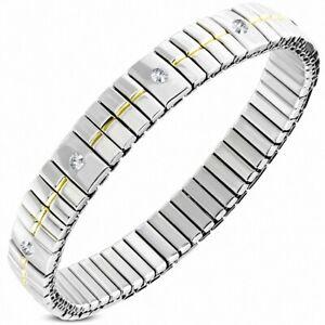 Bracelet Stainless Steel Stretch with Rhinestone Width 9 MM