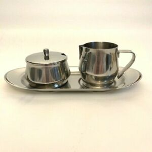 WMF Stainless Steel Cute Sugar And Cream Serving Set With Tray Made in W.Germany