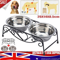 Double Elevated Raised Pet Dog Feeder Bowl Stainless Steel Food Water Stand Lift