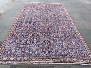 Vintage Worn Hand Made Traditional Oriental Wool Blue Large Carpet 323x217cm