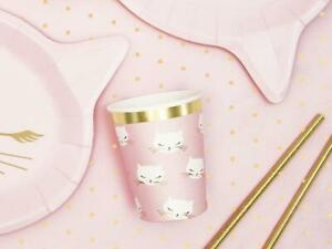 Cat Paper Cups - Pink Kitten Birthday Party Cups - Kitty Party - Pack of 6