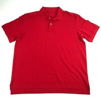Lands' End Mens Red Cotton Collared Polo Shirt XL