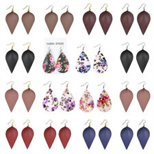 Luxury Women Leopard Leather Leaf Teardrop Earrings Boho Dangle Drop Jewelry