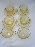 Federal Glass MADRID Amber 4 Coffee Tea Cup & Saucer Sets Creamer + Sugar Bowl
