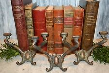 Antique Set of 3 Victorian Hall Tree Hooks Double Arm Cast Iron Hook