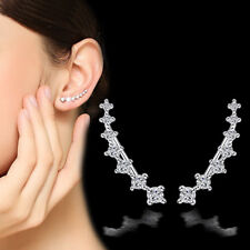 925 Sterling Silver Austria Crystal Ear Clip Earrings For Women Party Jewelry