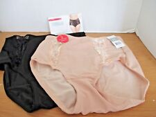 MARILYN MONROE~2 Pack~Beige Black LACE SHAPING BRIEFS~Women's Large~7443~NWT