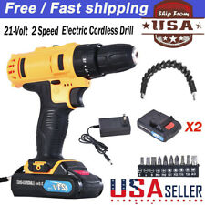 21-Volt drill 2 Speed Electric Cordless Drill/Driver with Bits Set &2Batteries U