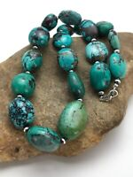 """Chunky Native American Sterling Silver Turquoise Necklace 20"""" 2963"""
