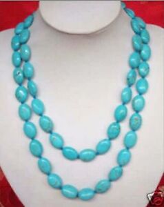 """35"""" 13x18MM Turkey natural blue turquoise oval gemstone beads long Necklaces"""