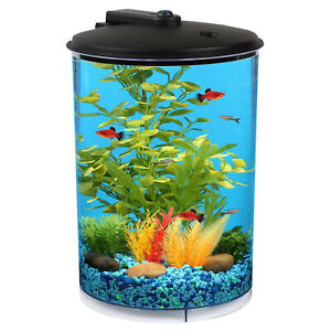 Koller Products 3 Gallon Tropical 360 View Nano Fish Tank w/ Power Filter & LED
