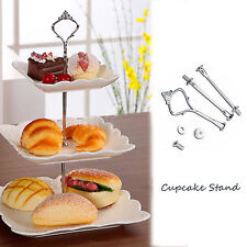 New 3 Tier Cake Plate Stand Cupcake Fittings Silver Wedding Party Display Silver