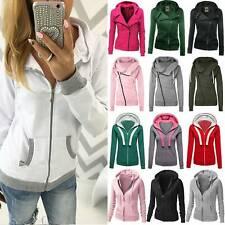 Women Hoodie Sweatshirt Zip Up Plain Jacket Jumper Hoody Skinny Coat Casual Tops