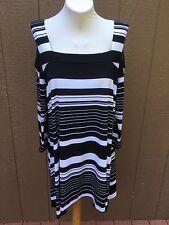 9458419aefbfe Chico s Knit Kit Cold Shoulder Black White Stripe Sharkbite Top 3 XL 16 18