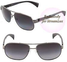 60df70a2abe PRADA Square Polarized Sunglasses SPR 52P 5AV-5W1 Black Silver Gunmetal