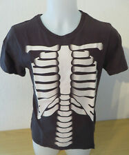H&M ° cooles T-Shirt Skelett Gr. 122 128 schwarz Jungen Mode Kleidung Trikot