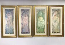 Framed Times of Day Alphonse Mucha Prints Set of 4 - Vintage