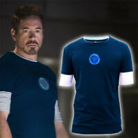 Iron Man3 Tony Stark Arc Reactor Men's Short Long Sleeve T-Shirt Top Tee Cosplay