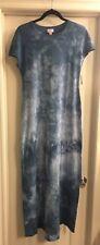 LuLaRoe XS Extra Small Maria Dress Blue Tie Dye Acid Wash Soft Original Sleeves