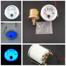 "Circular Silver Shell 2""52mm 0-100PSI Car Oil Pressure Meter Gauge With Blue LED"