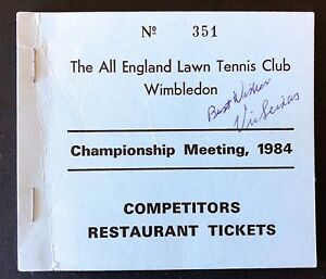 1984 WIMBLEDON TENNIS CHAMPIONSHIP FOOD TICKET BOOK SIGNED BY HOF VIC SEIXAS