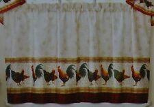 "Window Tier Pair~24""~Country Rooster~Rust~Tan~Ivory~Ru stic Chicken~Curtain~New"