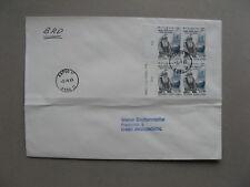 FINLAND, cover to Germany 1985, block of 4, music singer, Kalevala, elk