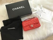 Chanel Classic Mini Flap in Red Patent with Silver Hardware