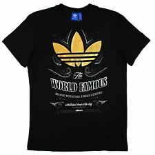 ADIDAS ORIGINALS WORLD FAMOUS LABEL VINTAGE HERREN FREIZEIT SHIRT SCHWARZ GOLD M