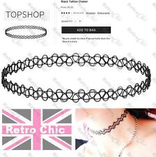 Topshop BLACK TATTOO CHOKER vintage 90s GRUNGE STYLE layering NECKLACE stretch