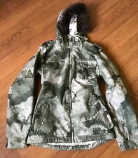 BURTON WHITE COLLECTION SKI COAT JACKET SNOWBOARDING FUR HOOD SIZE M MEDIUM