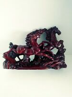 VINTAGE MAHOGANY RED RESIN WILD GALLOPING HORSES   BRAND NEW
