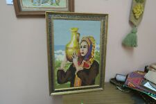 "Vintage Handmade Finished Needlepoint 12"" x 18"" - 16"" x 22"" Framed Lady & Jug"