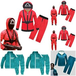 Kids Squid Game Costume Coat Hoodies Pants Tracksuit Halloween Party Cos Outfit