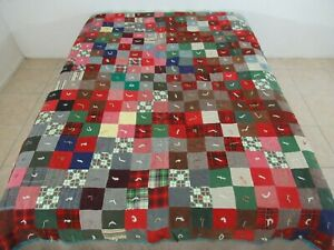 """Vintage Amish Style FOUR PATCH Quilt Made Of Wool, Corduroy, Flannel; 84"""" x 75"""""""