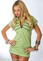 Blusa Donna Felpa Leggera MISSY C074 con Cerniera Verde-Chiaro Tg S