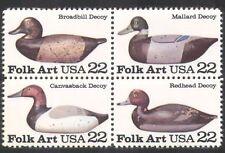 USA 1985 art populaire/en bois sculpté/Canards/CHASSE/Leurre/oiseaux/nature 4 V BLK n39034
