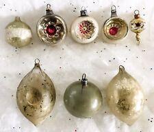 Vtg Christmas Tree Ornaments Indents Tear Drop Blown Glass Mercury Mica Set 8