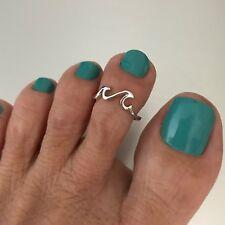 925 Sterling Silver Little Waves Toe Ring Adjustable women's Fancy Beach Jewelry