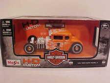 1929 Ford Model A Hot Rod Diecast Car 1:24 Maisto 7 inch Harley Davidson Orange